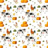 Seamless pattern with cute farm animals cartoon character vector