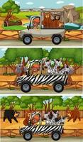 Set of different safari horizontal scenes with animals and kids cartoon character vector