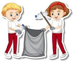 Sticker design with children collecting garbage vector