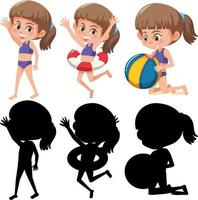 Set of a girl cartoon character in different positions with its silhouette vector