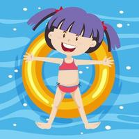 Top view of a girl laying on swimming ring on pool background vector