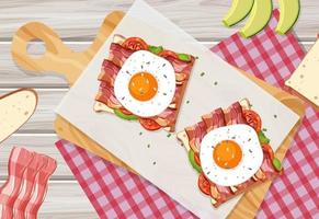 Top view of breakfast dish in cartoon style on the table vector