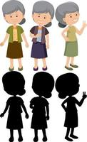 Set of old woman cartoon character with different positions with silhouette vector