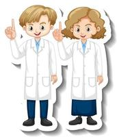 Cartoon character sticker with children in science gown vector