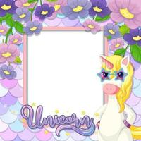 Empty banner with cute unicorn cartoon character on pastel mermaid scales vector