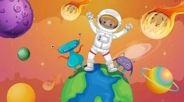 Astronaut kid with aliens standing on the earth in space scene vector