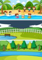 Set of different horizon scenes background with doodle kids cartoon character vector