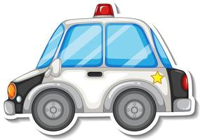 Sticker design with side view of police car isolated vector