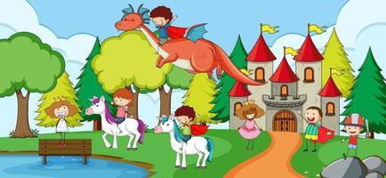 Many kids doodle cartoon character in nature scene with castle vector