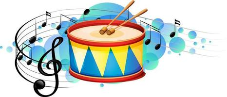 Snare drum percussion instrument with melody symbols on sky blue splotch vector