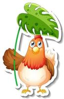 Sticker template with cartoon character of a chicken holding a leaf isolated vector