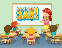 Get the jab font design on white board in the classroom scene vector