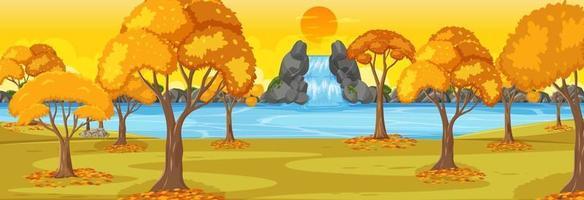 Park in autumn season horizontal scene at sunset time vector