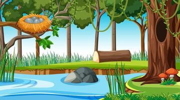 River along the forest scene at day time vector