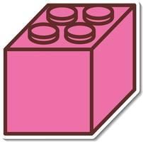 Sticker design with Pink lego block isolated vector