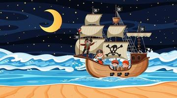 Ocean with Pirate ship at night scene in cartoon style vector
