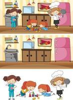 Set of different horizontal kitchen scenes with doodle kids cartoon character vector