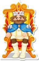 King sitting on throne cartoon character sticker vector