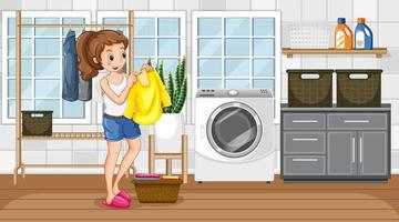 Laundry room scene with a woman drying her clothes vector