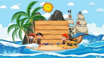 Pirate kids at the beach daytime scene with an empty banner template vector