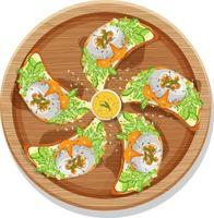Top view of many breakfast bruschetta on a round plate isolated vector