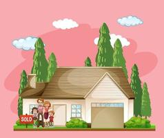 Family standing in front of a house for sale on pink background vector