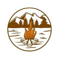 Camp fire vector illustration