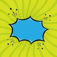 Blue bubble speech with star element and green background pop art style vector