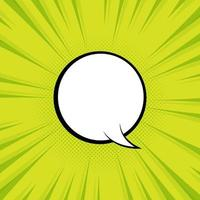Bubble speech with green background and pop art style vector