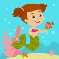 linda sirena nadando bajo el agua vector