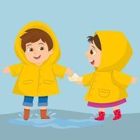happy kid play wear raincoat vector