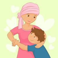 paciente con cáncer pasar tiempo con su familia vector