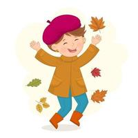 Girl is jumping and throwing autumn leaves up and having autumn mood vector