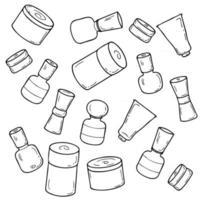 Doodle set of empty self care cosmetic jars. vector