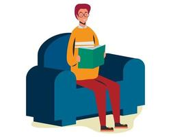 young boy reading book on sofa chair illustration in flat style vector