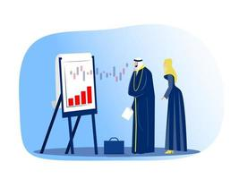 muslim businessman looking financial graph on flip chart stock market concept modern office interior portrait horizontal vector illustration