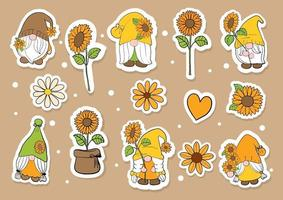 Watercolor sunflower gnomes sticker, planner. Digital painting. vector