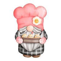 pintura digital acuarela gnomo chef, gnomo en la cocina. ilustración vectorial vector
