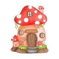 Digital painting watercolor gnome house, little house. vector illustration