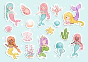 Watercolour mermaid sticker, planner and scrapbook. vector