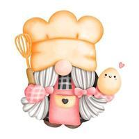 pintura digital acuarela gnomo chef, panadero gnomo en la cocina. ilustración vectorial vector