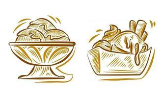 Set of Ice Cream Hand Drawing Illustration doodle for branding logo background element vector