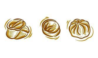 conjunto de dim sum dibujo a mano ilustración doodle para el elemento de fondo del logotipo de marca vector
