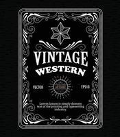 Vintage frame border western label retro hand drawn engraving antique vector illustration