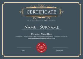 Certificate elegant flourishes vector template