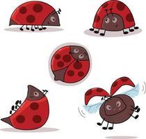 Cute Funny Ladybugs vector