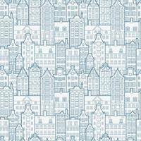 Seamless Pattern of Old European City. Holland Houses Facades in Traditional Dutch Style. The Decorative Architecture of Amsterdam. vector