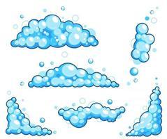Cartoon Soap Foam Set With Bubbles. Light Blue Suds of Bath, Shampoo, Shaving, Mousse. vector