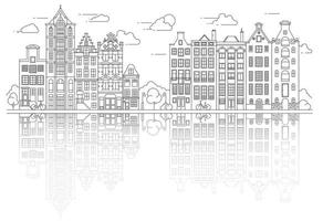 Amsterdam Old Style Houses. Typical Dutch Canal Houses Lined Up Near a Canal in the Netherlands. Building and Facades for Banner or Poster. vector