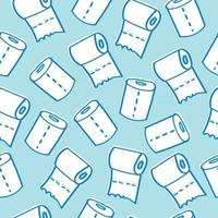 Kids Free Hand Drawing of Toilet Paper Rolls Seamless Background Pattern vector